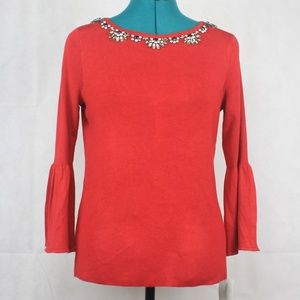 Charter Club Petite Embellished Sweater New Red PM